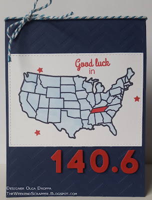 Red white and blue US map card; good luck 140.6 triathlon race