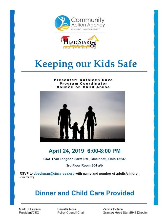 """""""Keeping our Kids Safe"""" Workshop - April 24, 2019"""