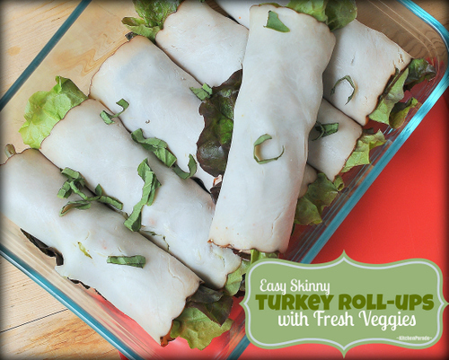 Easy Skinny Turkey Roll-ups with Fresh Veggies, another 'Summer Easy' recipe ♥ KitchenParade.com, just deli turkey, honey mustard, a few veggies. Low-carb, just 50 calories, Weight Watchers Friendly.