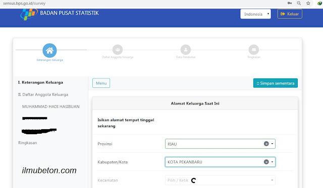 Langkah 5 Pengisian Sensuk Penduduk Online 2020 SP 2020 Isi data-data yang diperlukan pada kolom yang tersedia dengan benar sesuai dokumen Kartu Keluarga/KTP/buku nikah/dokumen cerai/surat keterangan kematian