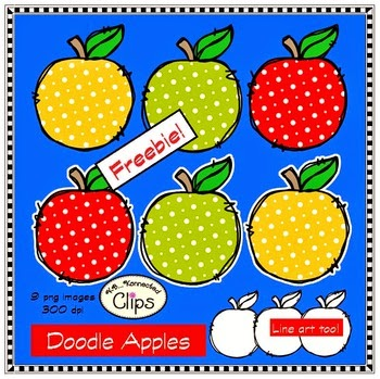 Doodle Apples Freebie Clipart by KB Konnected