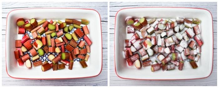 chopped rhubarb in ovenproof dish