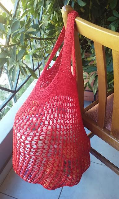 e1b82c876e πλεκτή χειροποίητη τσάντα για ψώνια (δίχτυ) με βελόνες  handmade knitted  shopping bag
