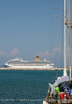 Costa Fortuna sailing past Poros, Kefalonia
