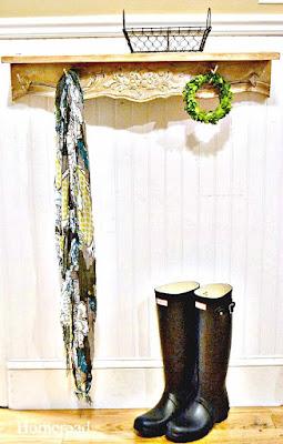 Repurposed vintage table apron into wall hooks