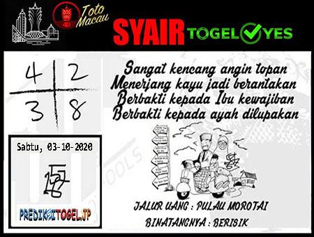 Syair Togel Yes Macau Sabtu 03 Oktober 2020