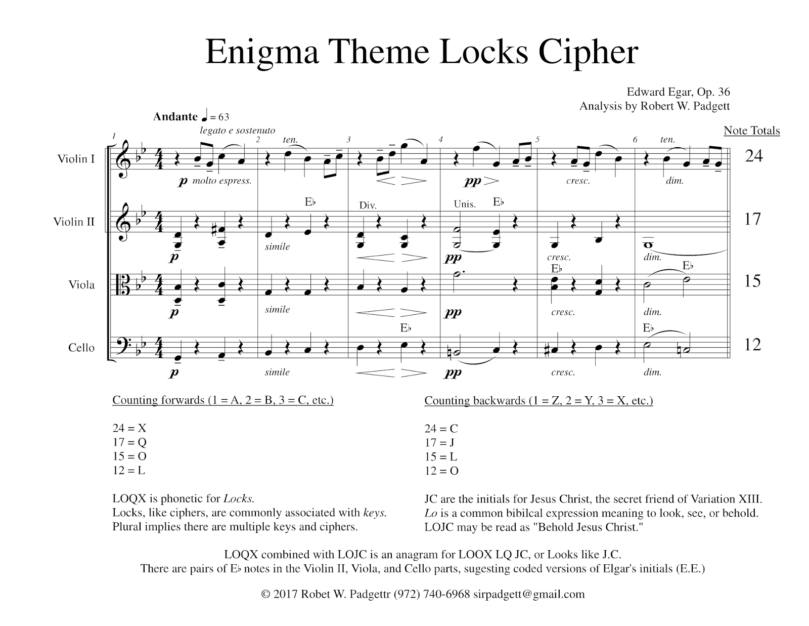 This Cryptogram Relies On The Note Totals From Each String Part Over Enigma Themes First Six Measures To Encode Specific Letters Of Alphabet