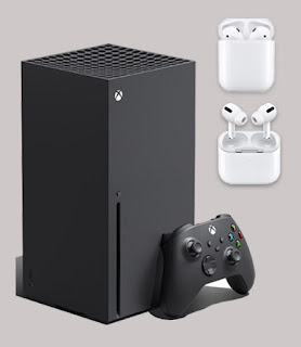 Xbox series X console and Airpods