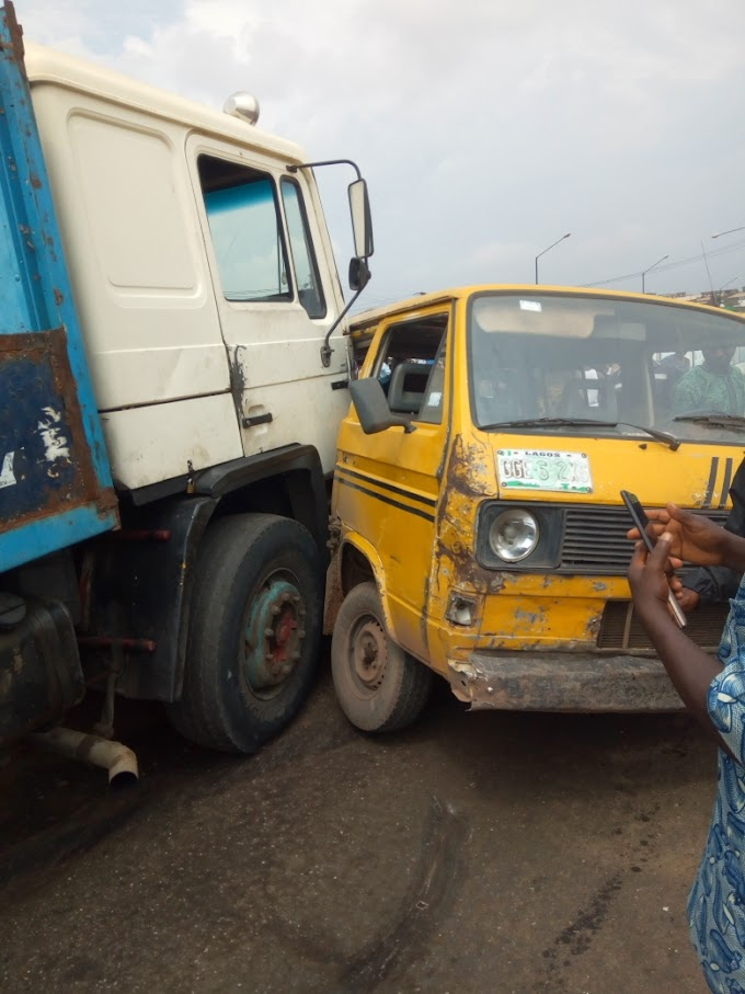 Two Different Trucks Crashed Down At Toll-Gate in Sango Ota Today!