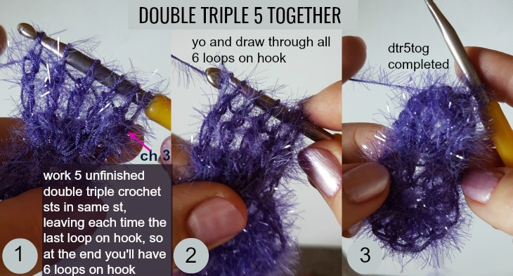 dtr5tog: double triple crochet 5 together
