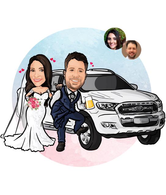 Caricatura de Noivos com Veículo