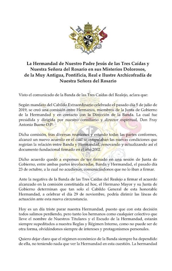 Desaparece la Banda de Cornetas y Tambores Tres Caidas de Granada