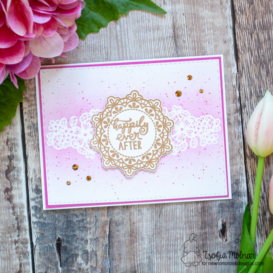 Happily Ever After Wedding card by Zsofia Molnar | Wedding Frills Stamp Set by Newton's Nook Designs #newtonsnook #handmade
