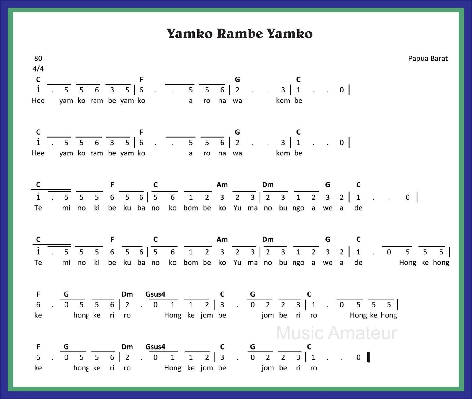 Chord Lagu Papua Karna Su Sayang: SEKITAR MUSIK: Lagu Yamko Rambe Yamko