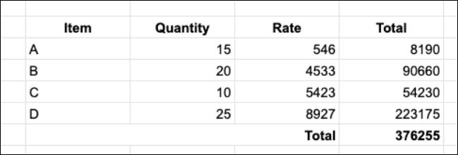 جدول الجرد بدون تنسيق