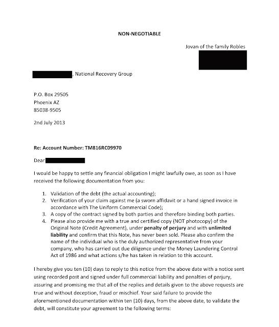 Debt Setoff Letter