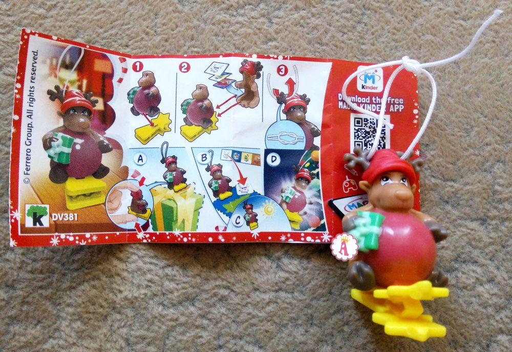 Новогодний олень игрушка Kinder Joy новогодний DV381