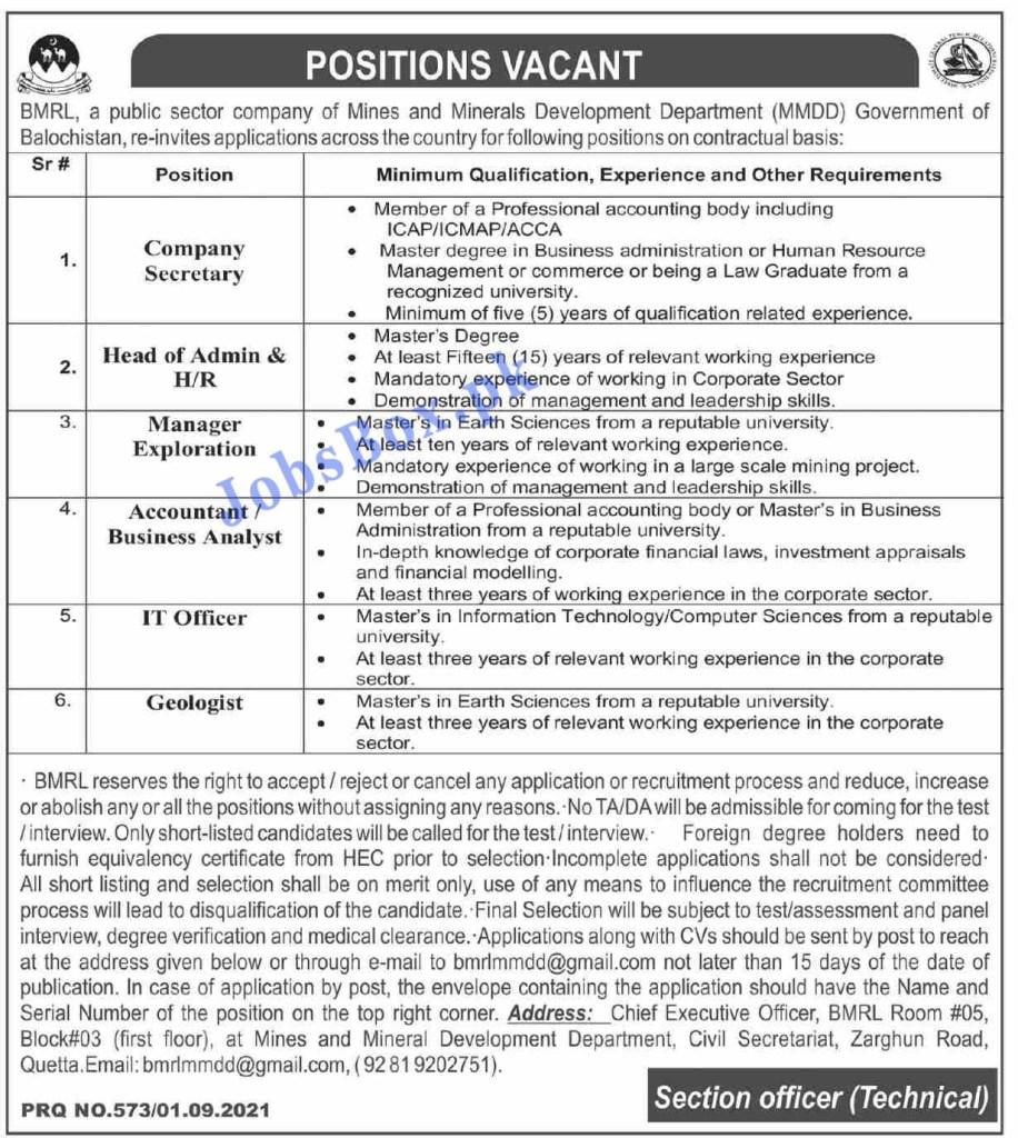 Mines and Minerals Development Department Balochistan Jobs 2021