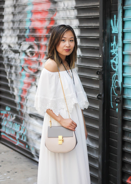 Romantic Boho Off the Shoulder Dress and Chloe Bag