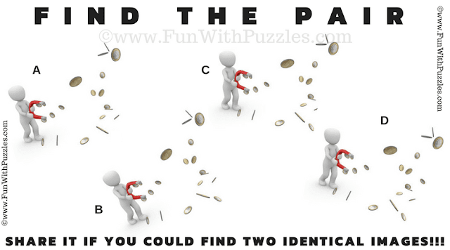 This is any easy Find The Pair Picture Riddle in which you have to find two matching image among the given 4 puzzle images