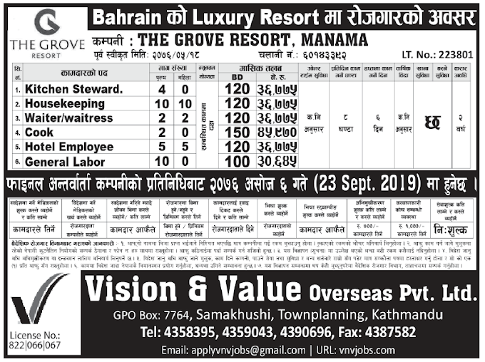 Jobs in Bahrain for Nepali, Salary Rs 45,970