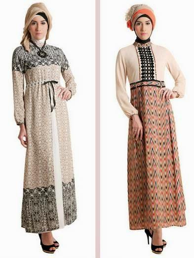 Model baju muslim gamis brokat dengan kombinasi warna kalem