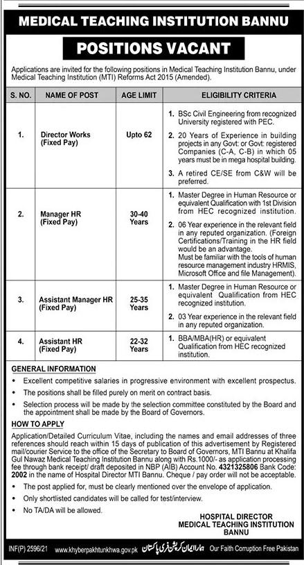 Medical Teaching Institutions (MTI)  Jobs 2021 in Pakistan
