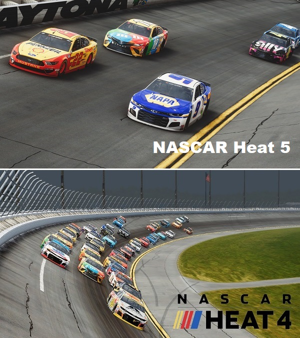 NASCAR Heat 5 vs NASCAR Heat 4 Gameplay