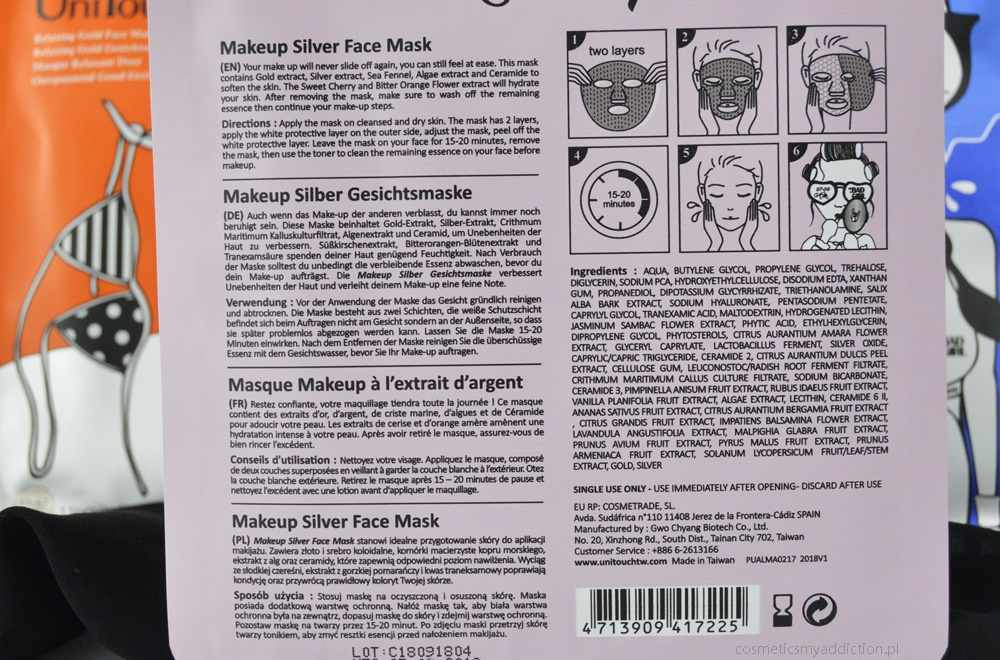UniTouch mask bad girl - makeup silver face mask