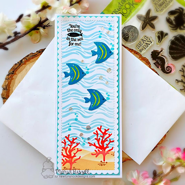 Slimline Sea Scene Card by Maria Russell | Tranquil Tides Stamp Set, Waves Stencil, Hills & Grass Stencil and Slimline Frames & Portholes Die Set by Newton's Nook Designs #newtonsnook #handmade