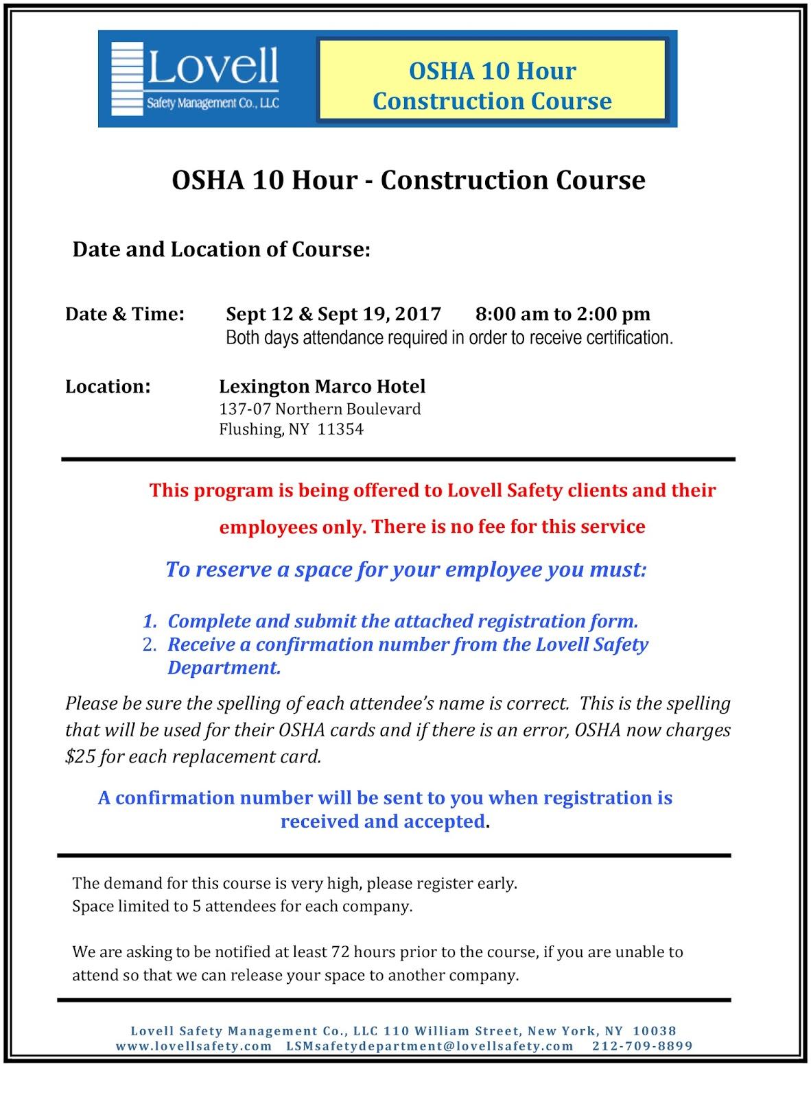 Osha Construction Certification Free Professional Resume