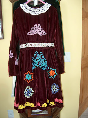 Chain Stitch embroidery on Irish Step Dancing Dress