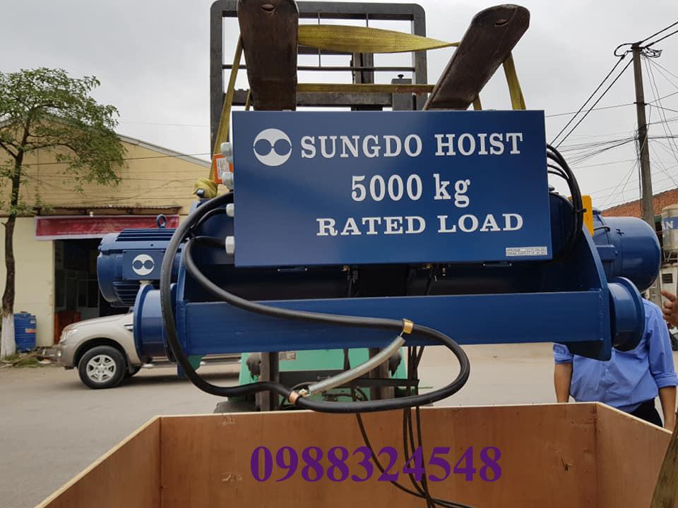 Pa lăng điện cáp Sungdo dầm đôi 5 tấn