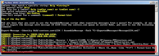 "Get-PublicFolderStatistics -ResultSize Unlimited | Where {$_.Name -like ""*\*""} | Format-List Name, Identity"