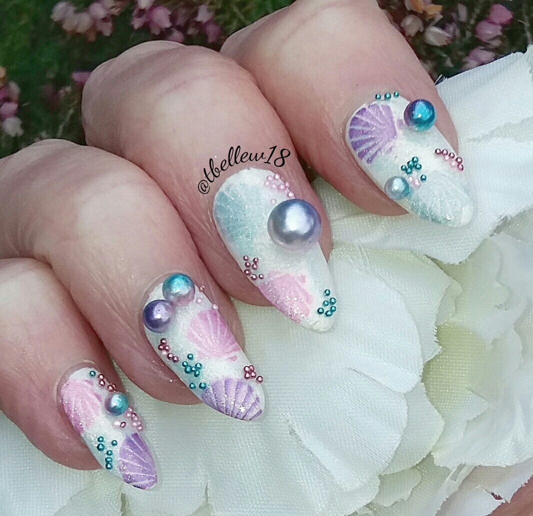 Mermaid pearls nail art blog by Tracey Bellew - Charlies Nail Art