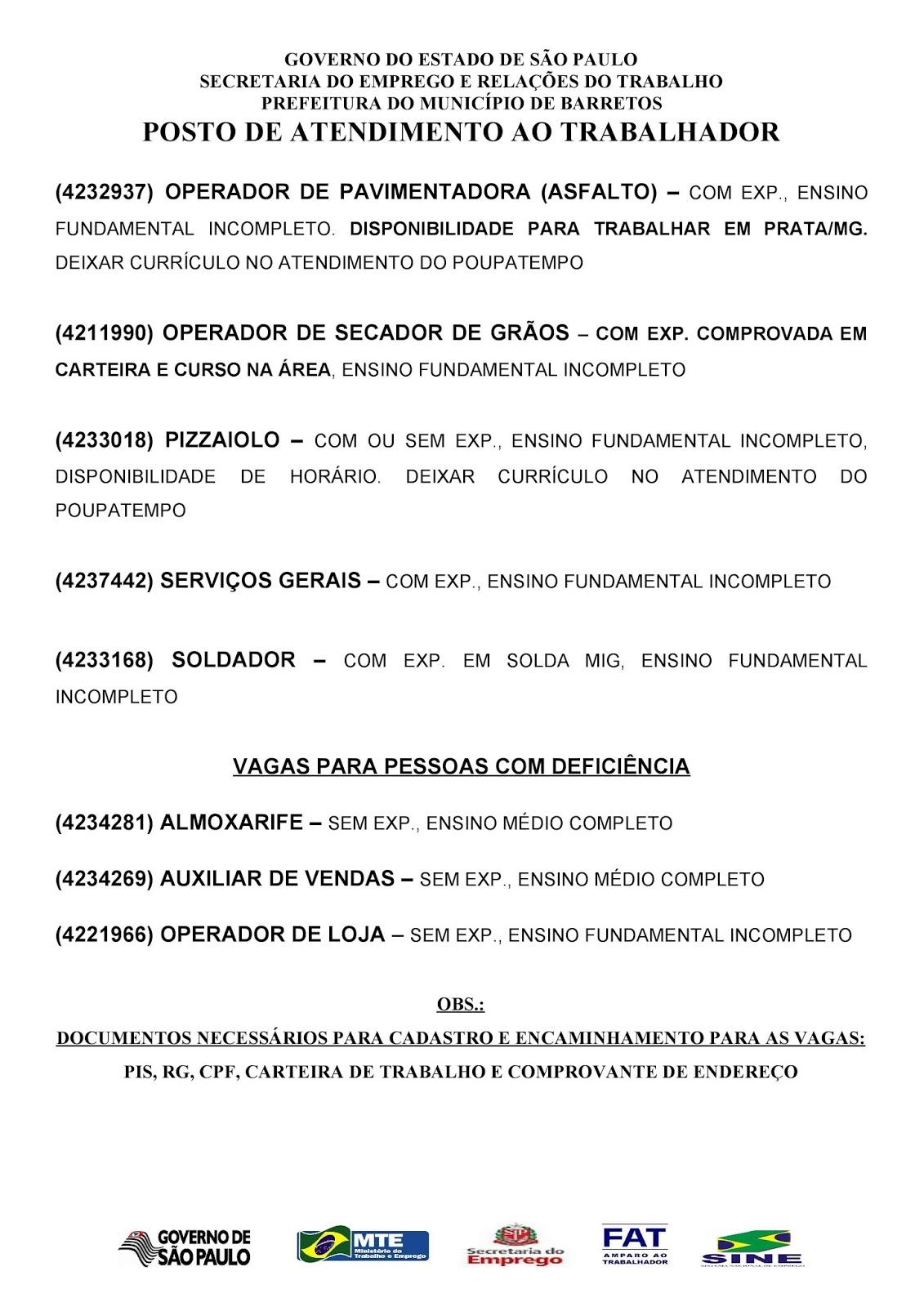 VAGAS DE EMPREGO DO PAT BARRETOS-SP PARA 21/09/2017 QUINTA-FEIRA - Pag. 3