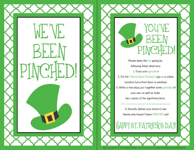 PINCHED! A FREE printable kit from ishouldbemoppingthefloor.com. It's the St. Patty's version of being BOOed!