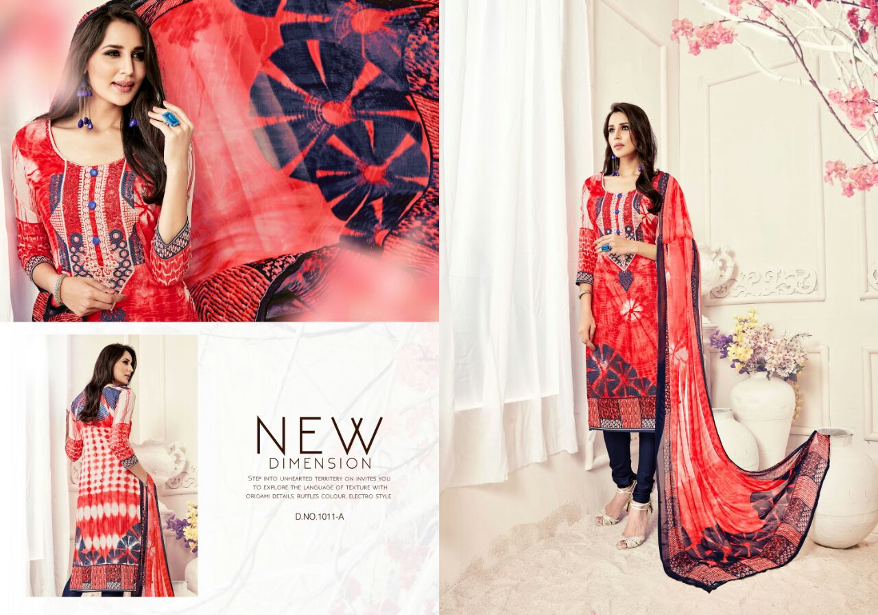Afreen – Cotton Satin Print With Embroidery Dress Material