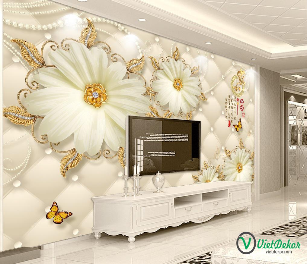 Tranh dán tường 3d hoa mẫu đơn trắng