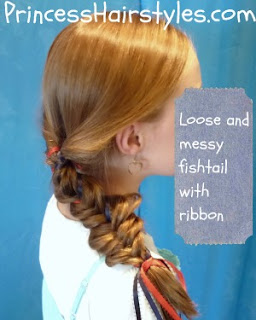 fourth of july hairstyle, fishtail ribbon braid