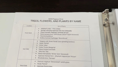 list of plants and flowers for binder when showing house