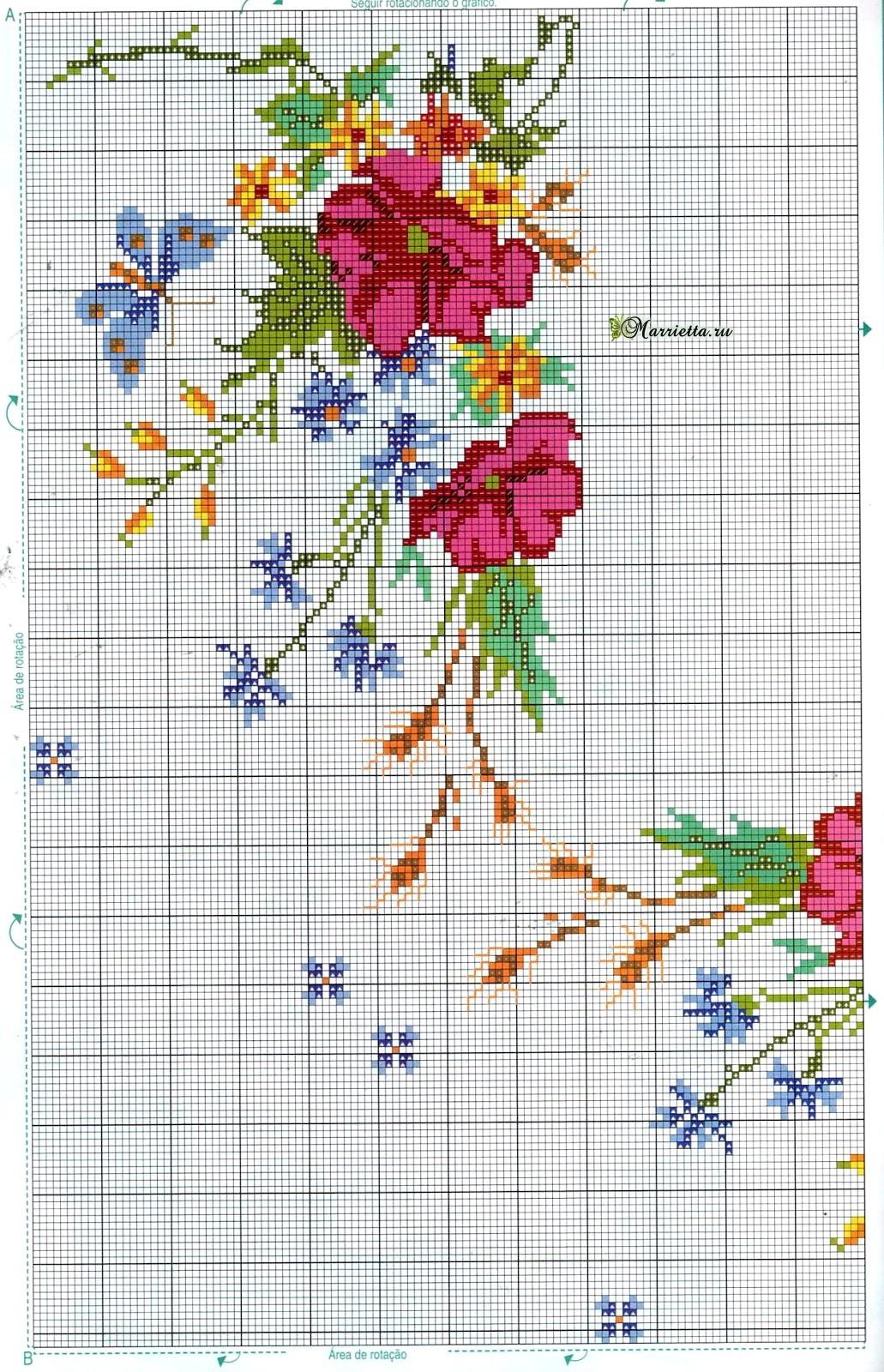 Цветы и бабочки на скатерти. Схема вышивки крестом (1)