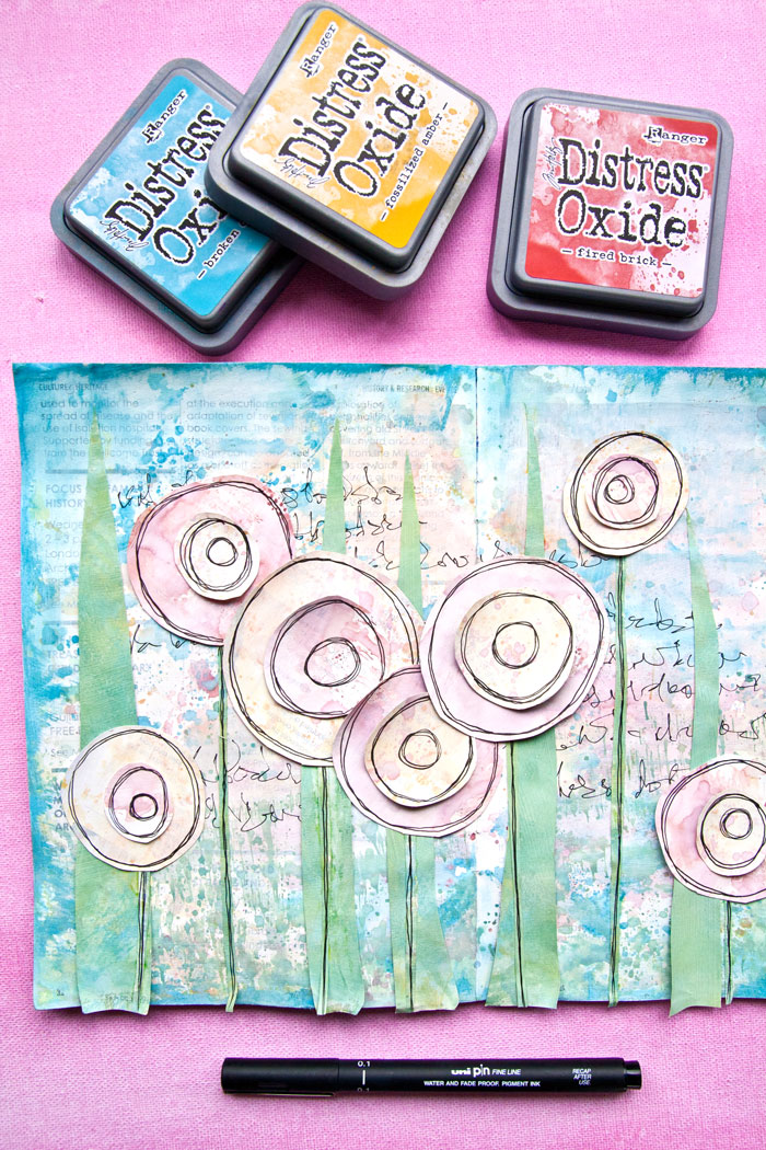 Distress Oxide Ink Pastel Art journal page: A video by Kim Dellow