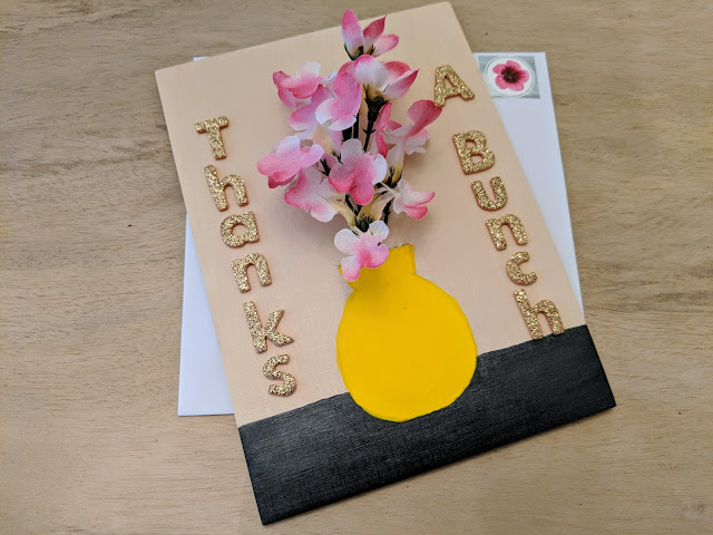 Card with 3D flowers in yellow vase