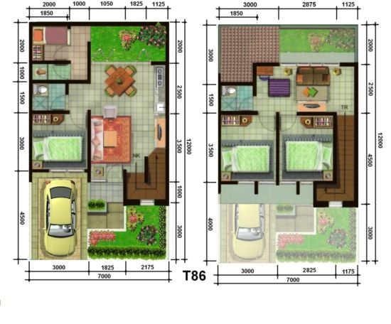 Gambar Denah Rumah Minimalis 2 Lantai Sederhana