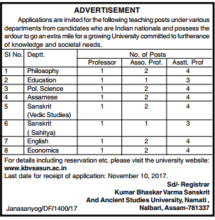 KBVSASUN Teaching Posts Recruitment 2017 of Assistant Professor, Professor, Associate Professor Jobs Notification