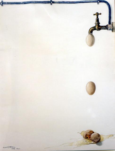 Acuarela original huevos pintor catalán Isidro Ventura Santamaría