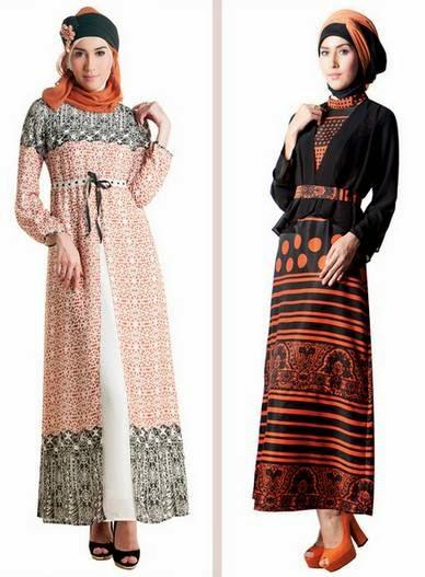 Desain busana muslim gamis brokat modis untuk remaja
