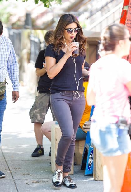 Priyanka Chopra in tight pants on the set of A Kid Like Jake