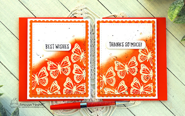 Butterfly Cards by Larissa Heskett | Monarchs Stamp Set, Floral Roundabout Stamp Set, Banner Trio Die Set and Frames & Flags Die Set by Newton's Nook Designs